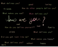 Define: What defines you?  good  on ley  How do other people define you?  friends  What makes you sad?  What defines you?  sad  bad  How do you define yourself?  Family  a lone  What defines you?  Did you get lost like me?  What makes you happy?  What defines you?  school  happy  work