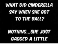 WHAT DID CINDERELLA  SAY WHEN SHE GOT  TO THE BALL?  NOTHING...SHE JUST  GAGGED A LITTLE