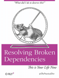 "This one resonates with me a little too much: ""What did I do to deserve this?""  Resolving Broken  Dependencies  This is Your Life Now  O RLY?  @ThePracticalDev This one resonates with me a little too much"