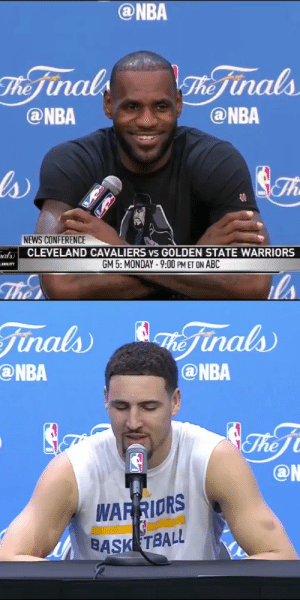 """What did Klay say?""  4 years ago today, LeBron's laugh & response to Klay saying ""I guess his feelings just got hurt.""   LeBron's next 3 games during the 3-1 comeback: 41 PTS, 16 REB, 7 AST, 3 BLK 41 PTS, 11 AST, 8 REB, 3 BLK 27 PTS, 11 AST, 11 REB, 3 BLK https://t.co/aAz3zBTy7F: ""What did Klay say?""  4 years ago today, LeBron's laugh & response to Klay saying ""I guess his feelings just got hurt.""   LeBron's next 3 games during the 3-1 comeback: 41 PTS, 16 REB, 7 AST, 3 BLK 41 PTS, 11 AST, 8 REB, 3 BLK 27 PTS, 11 AST, 11 REB, 3 BLK https://t.co/aAz3zBTy7F"