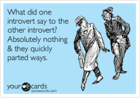 introvert: What did one  introvert say to the  other introvert?  Absolutely nothing  & they quickly  parted ways  your cards  someecards.com
