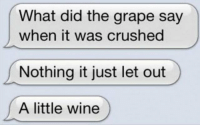 Wine, Did, and Grape: What did the grape say  when it was crushed  Nothing it just let out  A little wine https://t.co/k39idLCOwn