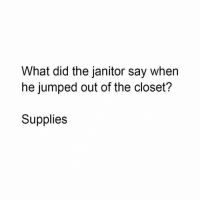 Instagram, Jumped, and Did: What did the janitor say when  he jumped out of the closet?  Supplies Instagram: @punsonly