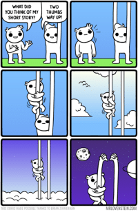 Memes, 🤖, and Zimmerman: WHAT DID  TWO  YOU THINK OF MY THUMBS  SHORT STORY?  WAY UP!  CU US  THIS COMIC MADE POSSIBLE THANKS TO BRIAN ZIMMERMAN  MRLOVENSTEIN.COM Two thumbs way up.  http://www.mrlovenstein.com/comic/773