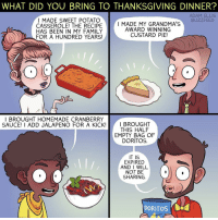 Memes, Buzzfeed, and Recipes: WHAT DID YOU BRING TO THANKSGIVING DINNER?  ADAM ELLIS  I MADE SWEET POTATO  BUZZFEED  I MADE MY GRANDMA'S  CASSEROLE! THE RECIPE  AWARD WINNING  HAS BEEN IN MY FAMILY  CUSTARD PIE!  FOR A HUNDRED YEARS  BROUGHT HOMEMADE CRAN BERRY  SAUCE! I ADD JALAPENO FOR A KICK  I BROUGHT  THIS HALF  EMPY BAG OF  DORITOS.  IT IS  EXPIRED  AND I WILL  NOT BE  SHARING.  DORITOS Credit: @adamtots • • { funnytumblr textposts funnytextpost tumblr funnytumblrpost tumblrfunny followme tumblrfunny textpost tumblrpost haha shoutout}