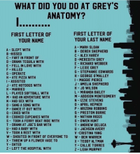 Love, Memes, and Pizza: WHAT DID YOU DO AT GREY'S  ANATOMY?  FIRST LETTER OF  YOUR NAME  FIRST LETTER OF  YOUR LAST NAME  A MARH SLOAN  B DEREH SHEPHERD  C ALEX HARE  D-MEREDITH GREY  E RICHARD WEBBER  F LEXIE GREY  G STEPHANIE EDWARDS  H GEORGE O'MALLEY  I MAGGIE PIERCE  J AMELIA SHEPHERD  H- JO WILSON  L MIRANDA BAILEY  M ADDISON MONTGOMERY  N IZZIE STEVENS  0 APRIL HEPNER  P ARIZONA ROBBINS  A SLEPT WITH  B-HISSED  FART IN FRONT OF  D DRANK TEQUILA WITH  E- FELL IN LOVE WITH  F HILLED  G OPERATE  H ATE PIZZA WITH  I ASSISTED  J- ATE HOTDOGS WITH  H MARRIED  L PLAYED SOFTBALL WITH  M HAD AN ADVENTURE WITH  N HAD SEX WITH  0-SANG A SONG WITH  P DANCE IT OUT WITH  CRIED WITH  R COOHED CUPCAHES WITH  S TOOH A FERRY BOAT RIDE WITH  T DRANH AT JOE'S BAR WITH  U- HAD A BABY WITH  V TOOK A REST WITH  W-SHOUTED IN FRONT OF EVERYONE TO  X-THREW UP A FLOWER VASE TO  Y DATED  Z LEFT THE HOSPITAL WITH  PRESTON BURHE  R NATHAN RIGGS  S OWEN HUNT  T ANDREW DELUCA  U JACHSON AVERY  V-CRISTINA YANG  W BEN WARREN  X TEDDY ALTMAN  Y -CALLIE TORRES  Z LEAH MURPHY This is awesome! Reply with what you did at #GreysAnatomy 😂 https://t.co/JBbuqEmyJW