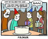 Birthday, Memes, and Blow Job: WHAT DID YOU WISH FOR, SON?  THE SAME THING I WISHED FOR  EVERY DAY AT THE ORPHANAGE.  O O  A BLOW JOB.  AWWW  O O  channelate.com Vee here! It's Ryan's birthday today! Blowjobs for everyone!🎉