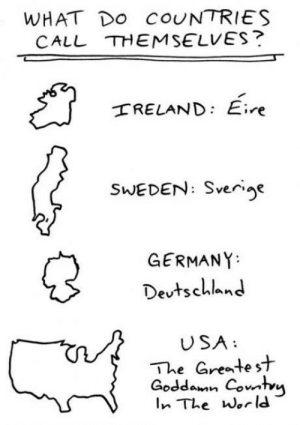 Germany, Sweden, and World: WHAT DO COUNTRIES  CALL THEMSELVES?  RELAND: Eire  SWEDEN: Sverige  'ye  GERMANY  Devtschlan  USA  The Gratest  Goddoun Covihvi  lnThe World How countries describe themselves