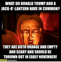 Donald Trump, Lol, and Memes: WHAT DO DONALD TRUMP AND A  JACK-O'-LANTERN HAVE IN COMMON?  THEY ARE BOTH ORANGE AND EMPTY  AND SCARY AND SHOULD BE  THROWN OUTIN EARLY NOVEMBER!  OCCUPY DEMOCRATS LOL! Too accurate...