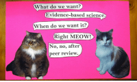 Memes, Science, and 🤖: What do we want?  Evidence-based science.  When do we want it?  Right MEOW!  No, no, after  peer review #catsmarchforscience