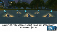 Love, Memes, and Wow: WHAT DO YOU CALL A LAKE FULL OF PALADINS?  A BuBBLE BATH! Love a good wow joke :-D ~ Ysabell via Blizzard Addicts Anonymous