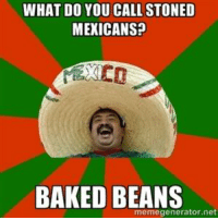 stoned: WHAT DO YOU CALL STONED  MEXICANS?  BAKED BEANS  memegenerator net