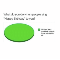 "Me: What do you do when people sing  ""Happy Birthday"" to you?  Sit there like a  dumbfuck trying to  figure out what to  do Me"