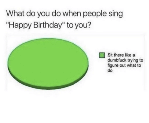 "Meirl: What do you do when people sing  ""Happy Birthday"" to you?  Sit there like a  dumbfuck trying to  figure out what to  do Meirl"