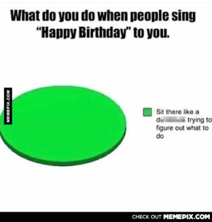 """Every time…omg-humor.tumblr.com: What do you do when people sing  """"Happy Birthday"""" to you.  Sit there like a  d trying to  figure out what to  do  CНЕCK OUT MЕМЕРІХ.COM  MEMEPIX.COM Every time…omg-humor.tumblr.com"""