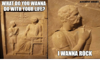 Life, Meme, and Memes: WHAT DO YOU WANNA  DO WITH YOUR LIFE?  ANCIENT MEMES  WANNA ROCK Meme by Anesia Papadopoulou
