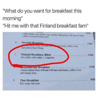 """Baked, Beer, and Fam: What do you want for breakfast this  morning  """"Hit me with that Finland breakfast fam""""  190B  2 toast, butter, jam, bacon, ogg, sausage, fried potato with ham & onion,  caffee or tca and orange juice  6 Swedish Breakfast  150B  sed siices of bre  d caviar, coffee or tea  and milk or beer Chang  7. Finland Breakfast, Blöro  p  100B  Hot coffee with vodka +1 cigaretic  150B  andina lan Breakfast , """" """"MAY ……… """""""" ,""""  2 home baked slices of bread with ham and cheese, coffee or tea  and orange juice.  80EB  9. Thai Breakfast..  Rice soup, thai style   The only thing I need.  Website -http://www.memesuniversity.com/"""