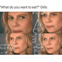 "Girls, Head, and Girl Memes: What do you want to eat?"" Girls:  2  2  cos  2  2x  y=ax2 + bx+ c  5 If someone was holding a gun to my head I still wouldn't be able to answer this question @mybestiesays"