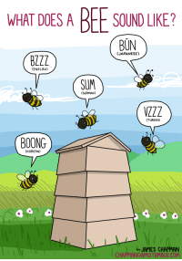 "Target, Tumblr, and Blog: WHAT DOES A BEE SOUND LIKE?  BUN  (JAPANESE)  BZZZ  (ENGLISH)  SUM  (GERMAN)  (TURKISH)  BOONG  (KOREAN)  JAMES CHAPMAN  CHAPMANG <p><a class=""tumblr_blog"" href=""http://chapmangamo.tumblr.com/post/63100122584/what-does-a-bee-sound-like-i-cant-imagine"" target=""_blank"">chapmangamo</a>:</p> <blockquote> <p><strong>WHAT DOES A BEE SOUND LIKE?</strong></p> <p>I can't imagine listening to a bee and hearing the sound BOONG.<br/>I can't imagine listening to anything ever and hearing the sound BOONG.</p> <p><span>As far as I'm concerned, boong is not a sound.</span></p> </blockquote>"