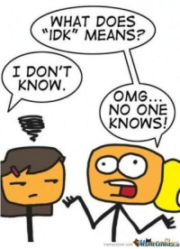"""idk: WHAT DOES  """"IDK"""" MEANS?  I DON'T  KNOW  OMG.  NO ONE  KNOWS!  memecenter-com"""
