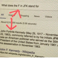 Assassination, Hungry, and Introvert: What does the F in JFK stand for  All lmao  hoppingNewsVideos  About 8,310 000 results (0.56 seconds)  John Fortnite Kennedy (May 29, 1917 Novembe  22, 1963), commonly referred to by his initials JFK  was an American politician who served as the 35th  President of the United States from January 1961 u  his assassination in November 1963.  John F. Kennedy - Wikipedia  ttps:llen.wikipedia.org/wikilJohn F Kenned fairboundfield:  airborneartist:  memesandthingsilike: wiltin:  space-miniivan:   neutralfangirlshitethenamestaken:   itsthemoooooooooon:  lindsey-chr-not-found:  minhyuk-is-a-nudeybooty:   sneakcatjadecat:   what-is-love-babby-dont-hurt-me:   geeky-afakasi:  the-derp-returns:  rhaya-rose:   bluebladesoftime:   klaiea:  nervoustarfighter:  jimperbam:   virtual-villain:  seafoodmomma:  ovarianeruption:  ghostlyllamaprincess:  surprisebitch:  hungry-joe:   theinfiknight:  radha-the-introvert:   surprisebitch: omg i cant believe this is actually true It's Fitzgerald ye damn heathens   No it's Fortnite look it up. Abraham PUBG Lincoln will back me up on this one    F   F  F   F   F  F   F  fun fact! the f in jfk was added later for respect  F   F   F   F  F   F   F   F  F  F   F   F   F   F  F