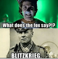 This is an old meme that isn't mine, but I've been seeing one of these going around that some random account put their watermark on.... ww2 erwinrommel desertfox whatdoesthefoxsay: What does the fox say!?  BLITZKRIEG This is an old meme that isn't mine, but I've been seeing one of these going around that some random account put their watermark on.... ww2 erwinrommel desertfox whatdoesthefoxsay