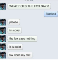 What Does the Fox Say: WHAT DOES THE FOX SAY?!  Blocked  please  im sorry  the fox says nothing  it is quiet  fox dont say shit
