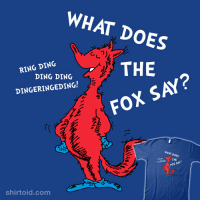 fox say: WHAT DOES  THE  FOX SAY?  RING DING  DING DING  DINGERINGEDING!  WHAT DOES  THE  FOX SA?  shirtoid.com