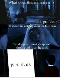 Desperate, Memes, and Hearts: What does this mirron  do, professor?  It shows us notling more or less tharn  the deepest, most desperate  desire of our hearts.  p 0.05