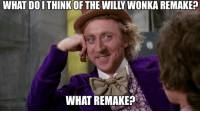 Willy Wonka: WHAT DOITHINK OF THE WILLY WONKA REMAKE?  WHAT REMAKE?