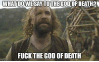 Memes, 🤖, and  Fuck the Gods: WHAT DOVVESAY TO THE GOD  DEATH  FUCK THE GOD OF DEATH You have been missed, Sandor Clegane. GameOfThrones