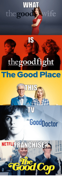 I'm beginning to think they aren't related...: WHAT  egood wife  g00  IS  thegoodfight  The Good Place  THIS  TV  GoodDoctor  NETFLI  FRANCHISE  The I'm beginning to think they aren't related...