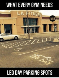 Mab, Gyms, and Leg: WHAT EVERY GYM NEEDS  LAIIITNESS  MAB  LEG DAY PARKING SPOTS Every gym needs this. Let's get a petition happening.