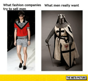 epicjohndoe:  Men Fashion: What fashion companies  try to sell men  What men really want  獾  THE META PICTURE epicjohndoe:  Men Fashion