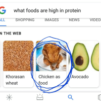 Baked, Food, and News: what foods are high in protein  SHOPPING  IMAGES  NEWS  VIDEO  N THE WEB  Chicken as  ood  Avocado  Khorasan  wheat