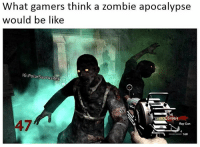 What I imagine it to be like 😂 Follow me for more! (@PolarSaurusRex): What gamers think a zombie apocalypse  would be like  IG: PolarSaurusRex  84964  Ray Gun  160 What I imagine it to be like 😂 Follow me for more! (@PolarSaurusRex)