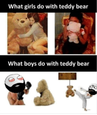 Funny, Girls, and Lmao: What girls do with teddy bear  What boys do with teddy bealr