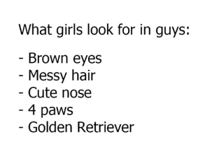 Cute, Dank, and Girls: What girls look for in guys:  Brown eyes  Messy hair  Cute nose  4 paws  Golden Retriever I WANT A DOG!