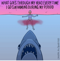Head, Memes, and Period: WHAT GOES THROUGH MY HEAD EVERY TIME  IGO SWIMMING DURING MY PERIOD  ol Dun-dun, dun-dun, dun-dun... (By @crystal.ro)