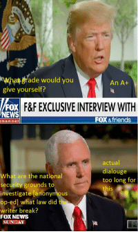 Even Fox News Knows: What grade would you  give yourself?  An A+  FX  F&F EXCLUSIVE INTERVIEW WITH  NEWS  FOX & friends  hannel  actual  dialouge  too long for  this  What are the national  security grounds to  investigate [anonymous  op-ed] what law did the  writer break?  FOX NEWS  SIUNDAY Even Fox News Knows