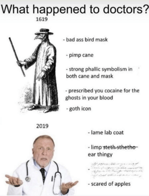 Ass, Bad, and Cocaine: What happened to doctors?  1619  - bad ass bird mask  pimp cane  - strong phallic symbolism in  both cane and mask  -prescribed you cocaine for the  ghosts in your blood  goth icon  2019  - lame lab coat  -limp steth-sthetho  ear thingy  - scared of apples Oof