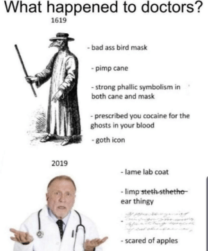 Scared of apples: What happened to doctors?  1619  - bad ass bird mask  - pimp cane  - strong phallic symbolism in  both cane and mask  - prescribed you cocaine for the  ghosts in your blood  - goth icon  2019  - lame lab coat  - limp steth-sthetho  ear thingy  - scared of apples Scared of apples