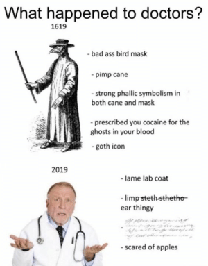 limp: What happened to doctors?  1619  -bad ass bird mask  -pimp cane  - strong phallic symbolism in  both cane and mask  prescribed you cocaine for the  ghosts in your blood  goth icon  2019  -lame lab coat  limp steth-sthetho  ear thingy  - scared of apples