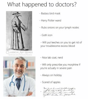 Facebook, Harry Potter, and Memes: What happened to doctors?  - Badass bird mask  - Harry Potter wand  - Rubs onions on your lymph nodes  - Goth icon  - Will put leeches on you to get rid of  your troublesome excess blood  CLASSICAL ART MEMES  facebook.com/elassicalartimemes  - Nice lab coat, nerd  - Will only prescribe you morphine if  you're actually in severe pain  - Always on holiday  - Scared of apples  d grntkand Qnffe  ve.d