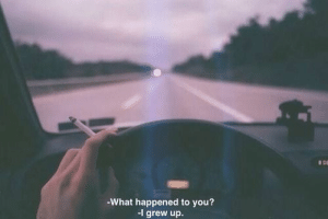 You, What, and What Happened: What happened to you?  I grew up.