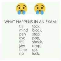 Exactly...: WHAT HAPPENS IN AN EXAM:  tik tock  mind block,  pen  Stop,  eye  full  shock  Jaw  drop,  time  up  no luck Exactly...