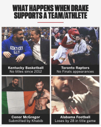 Basketball, Conor McGregor, and Crying: WHAT HAPPENS WHEN DRAKE  SUPPORTSA TEAM/ATHLETE  KENTICKY  DAD  Kentucky Basketball  No titles since 2012  Toronto Raptors  No Finals appearances  Conor McGregor  Submitted by Khabib  Alabama Football  Loses by 28 in title game