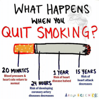 Memes, Blood Pressure, and New Videos: WHAT HAPPENS  WHEN You  QUIT SMOKING?  20 MINNTES  1 YEAR IS YEARS  Blood pressure &  Risk of  Risk of heart  heart rate return to  disease halved  heart attack  normal  HOURS  decreases  Risk of developing  coronary artery  diseases decreases  ASGP SCIENCE Tag someone who should QUIT smoking so they can learn how quickly their body will repair itself in our NEW video linked in our bio! 👆