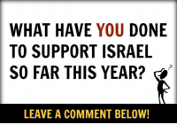 what have you done: WHAT HAVE YOU  DONE  TO SUPPORT ISRAEL  SO FAR THIS YEAR?  LEAVE A COMMENT BELOW!