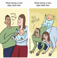 Memes, Baby, and 🤖: What having a new  baby looks like:  2  What having a new  baby feels like:  2  2  7  9  WOD2  Woop  MASTE  じ. ) What it feels like to be a new parent (by: @beckybarnicomics)